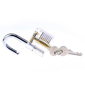 Image 3 - Набор слесарных инструментов 5 в 1, 2 прозрачных замка с 5 мини инструментами, 10 сломанных ключей, инструмент для удаления, 5 натяжных инструментов