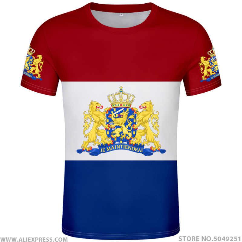 هولندا تي شيرت لتقوم بها بنفسك الحرة شعار مخصص اسم الصورة nld تي شيرت علم الدولة nl المملكة هولندا الهولندية طباعة النص البلد الملابس