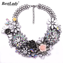 Best lady Fashion Luxury Crystal Flower Clear za Big Brand Party Jewelry Statement Shourouk Chain Choker Collar Necklace B124