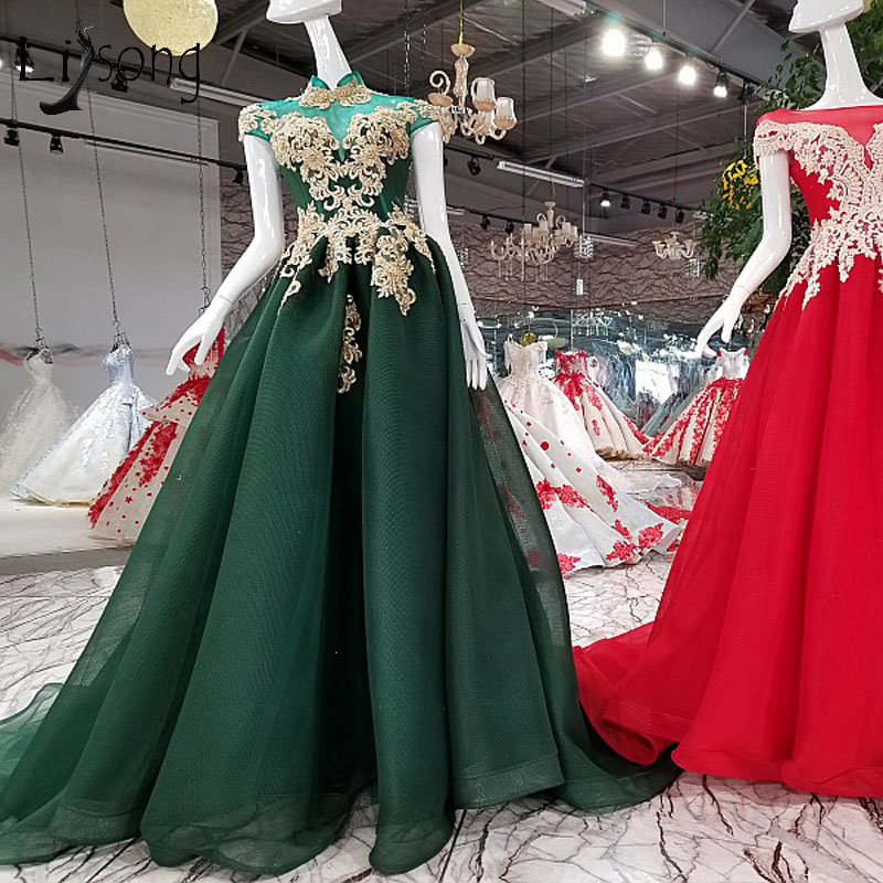 Abendkleider 2018 Dark Green Long   Prom     Dresses   Gold Appliques Pearls   Prom   Gowns Abiye High Collar Short Sleeves Formal   Dress