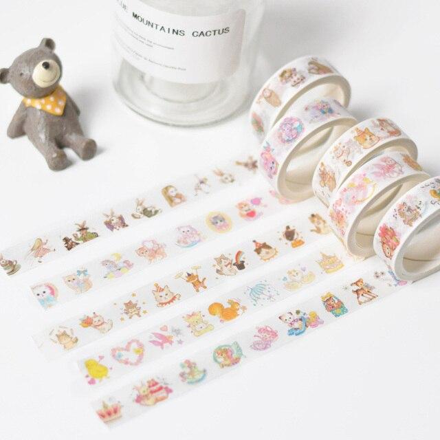 15mm * 5 m Kawaii Shiba perro gato animales papel Washi cintas DIY Scrapbooking cintas decorativas para Decoración papelería lindo