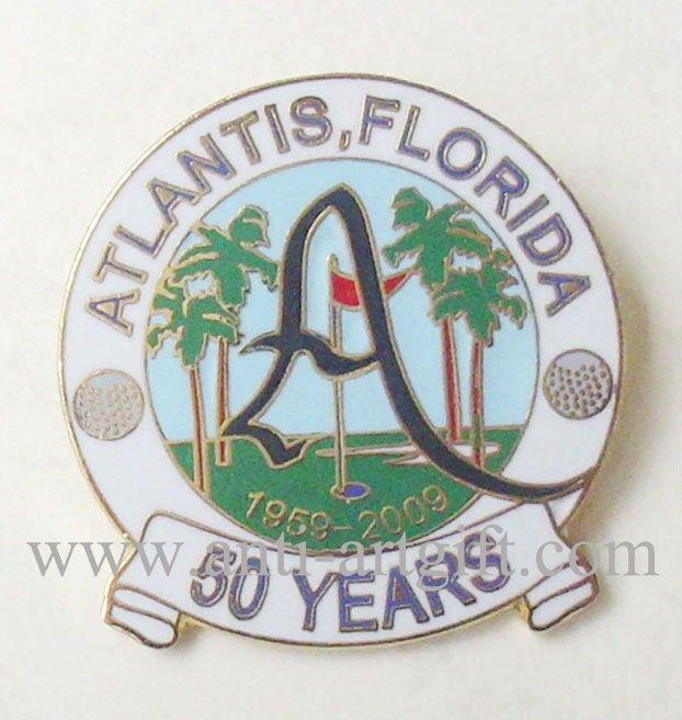 Заказ мягких эмалированные металлические значки США Флорида деревья сувенир 50 лет круглой формы высококачественный дизайн эмблемы без минимальный объем заказа