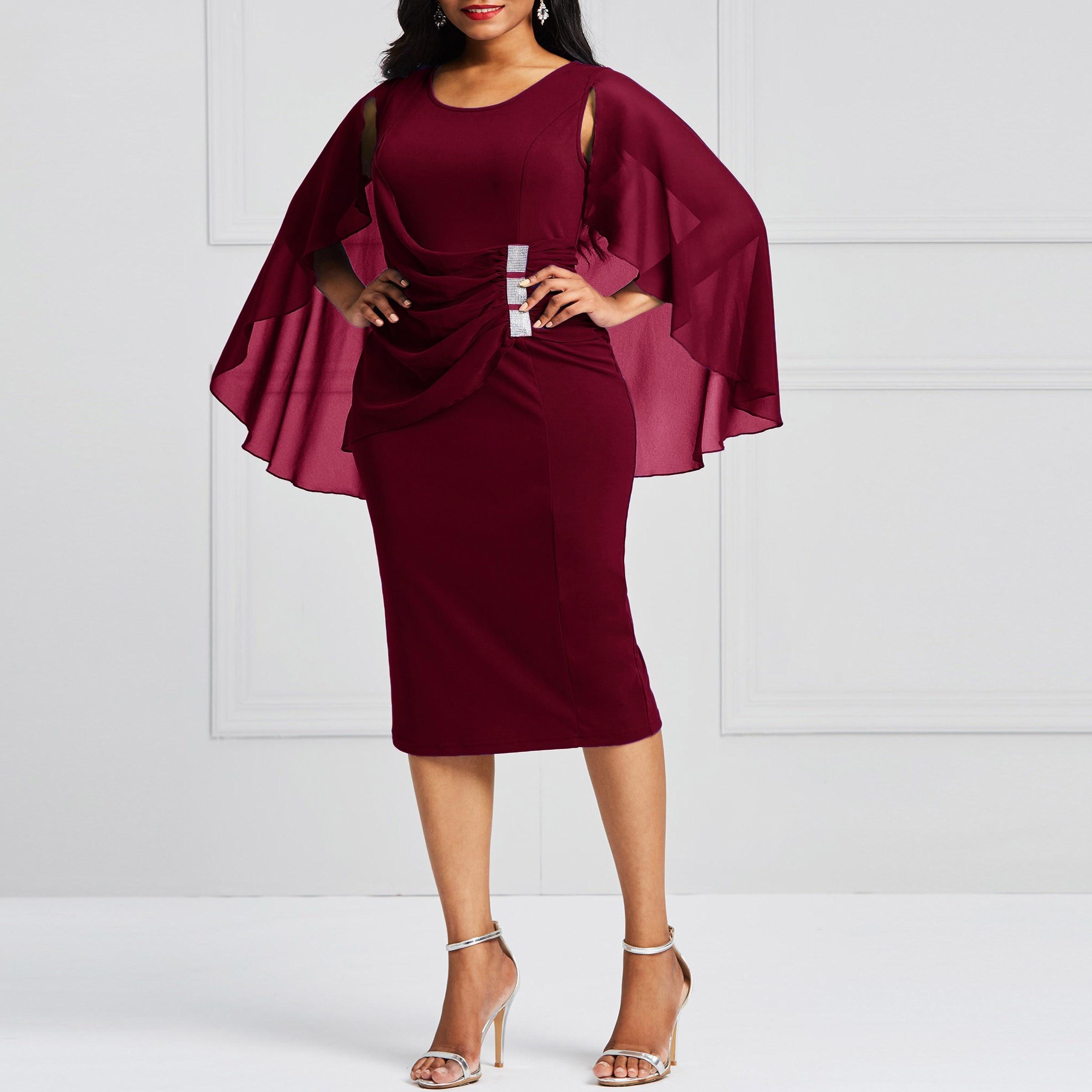 Clocolor Plus Size Autumn Bodycon Batwing Sleeve Pencil Elegant Evening  Fashion Party Pleated Split Midi Ladies Women Dress 2018 06debc78a5b4