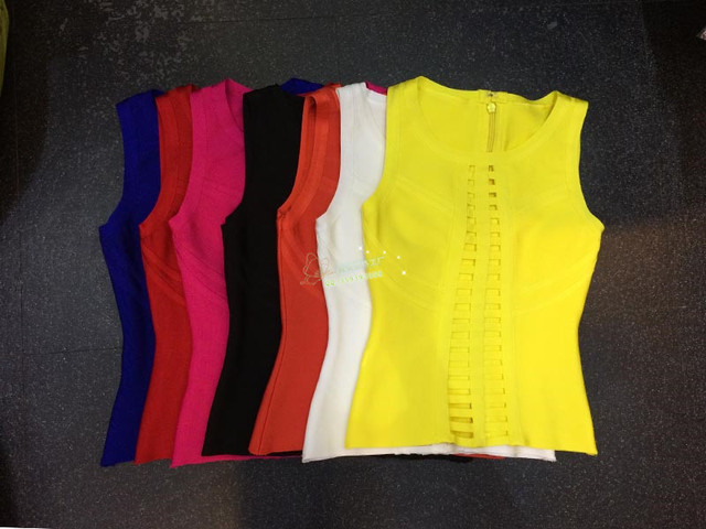 wholesale High quality New Top A variety of colors Stretch tight Pierced sexy Bandage tops  (H0588)