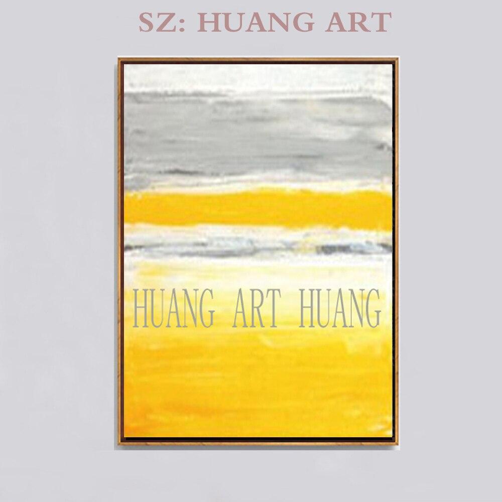 100% peint à la main huile sur toile peinture moderne abstraite or jaune affiches mur Art photos pour salon décor à la maison