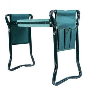 Image 1 - 1 Набор садовых сидений Складной садовый стул из нержавеющей стали с сумкой для инструментов EVA коврик на колени
