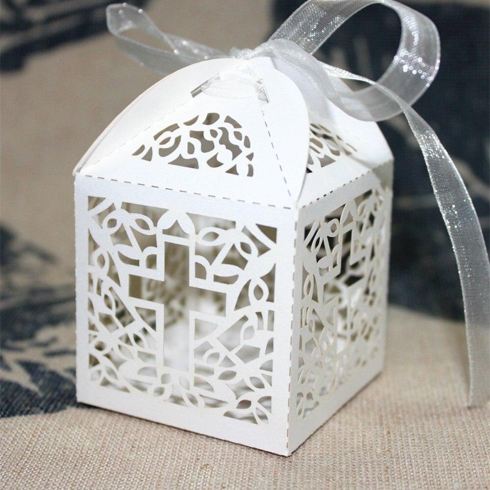 50pcs Big Cross Laser Cut Wedding Baby Shower Favor Box Candy Gift ...