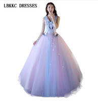 Sleeveless V Neck Lilac Quinceanera Dresses 2018 Ball Gown Floor Length Ball Gown Dresses Quinceanera
