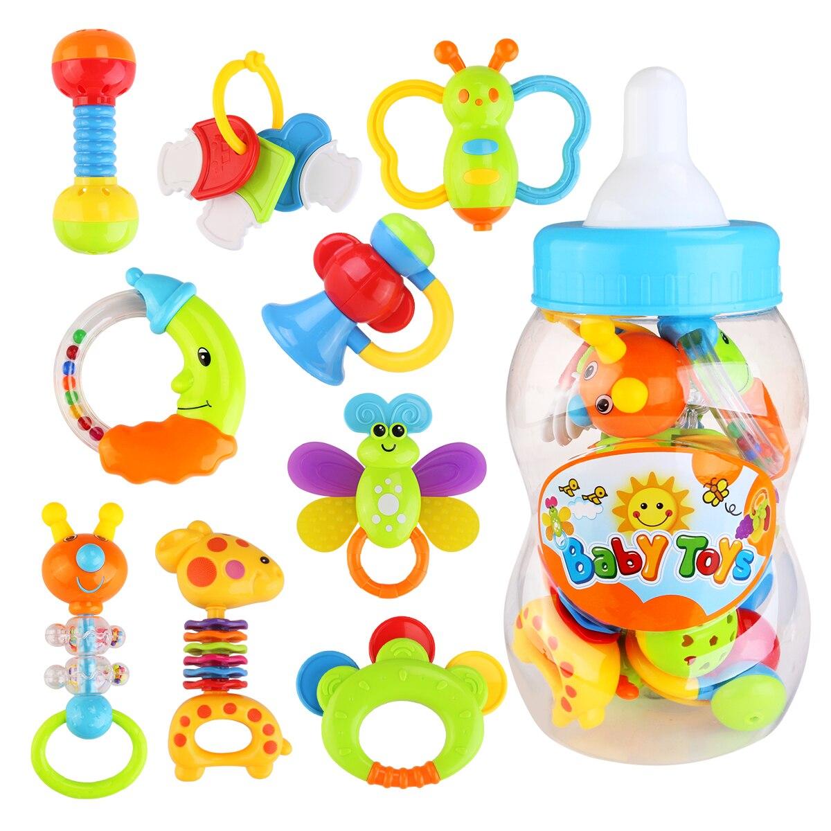 9 pièces Babys premier hochet et jouet de dentition avec bouteille de lait géante saisir jouet coloré (couleur aléatoire)