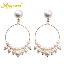 Ajojewel Trendy Style Big Circle Drop Earrings With Simulated Pearl Costume Jewelry Accessories 2019