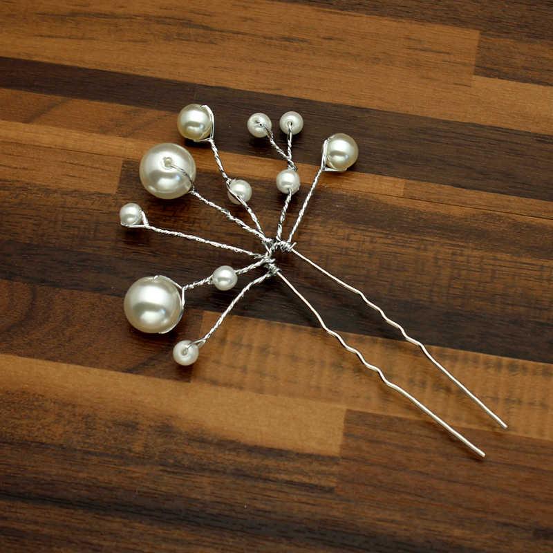 Handmade Silver Bridal Hair Accessories Pearl Wedding Hair Pins And Clips Beads Bridesmaid Hairpin Vine Piece For Bride Women