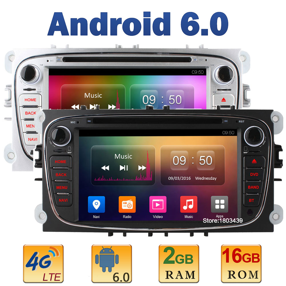 7 Quad Core 2GB RAM 4G LTE SIM WIFI Android 6 Car DVD Player Radio Stereo For Ford Mondeo S-MAX Galaxy Tourneo Connect Focus 2