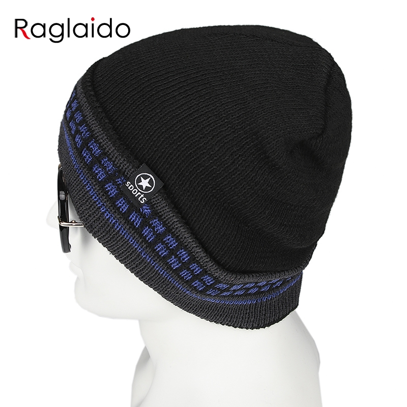 Raglaido Men hat winter   skullies     beanie   black knitting hats for women unisex thick small squares pattern turn over hat RGSHY037