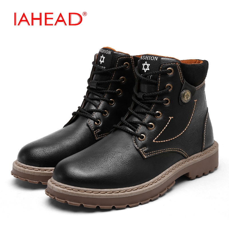IAHEAD Men Boots Martin Boots Winter Shoes Men Casual Work Boots Tactical Boots Lace-Up Wear Resisting Casual Shoes MU521