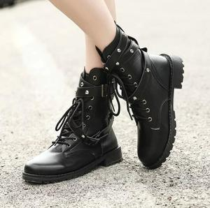 Image 4 - SWYIVY 2019 Motorcycle Boots Ladies Vintage Combat Autumn Boots Army Punk Goth women boots Women Biker PU Leather Short Boots