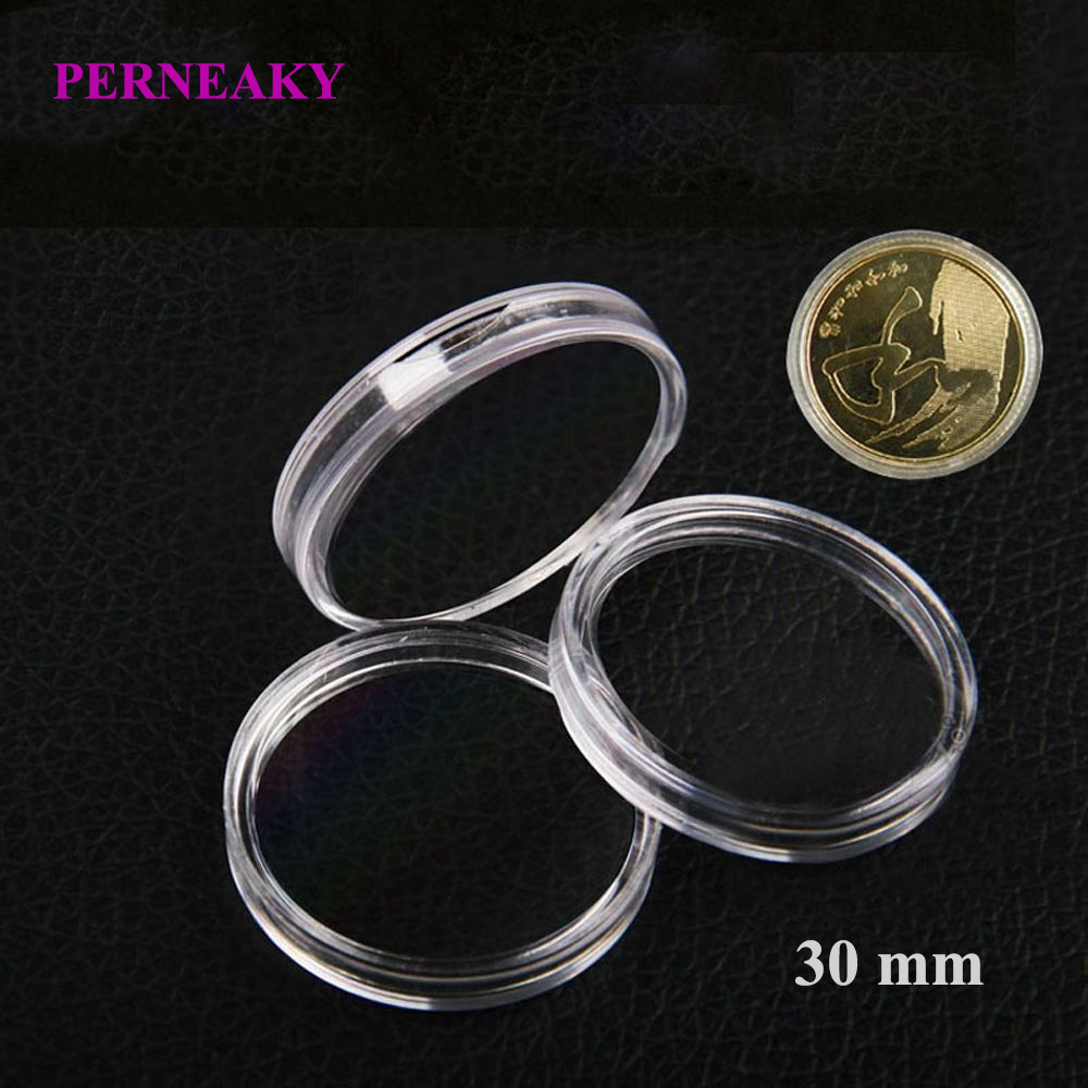 200x 30//38mm Plastic Clear Round Coin Case Capsule Storage Holder Containers