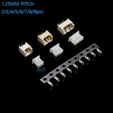 20 conjuntos micro jst 1.25 2/3/4/5/6 pinos conector 1.25mm passo horizontal reto pino encabeçamento + habitação + terminal 1.25-2p/3p/4p/5p