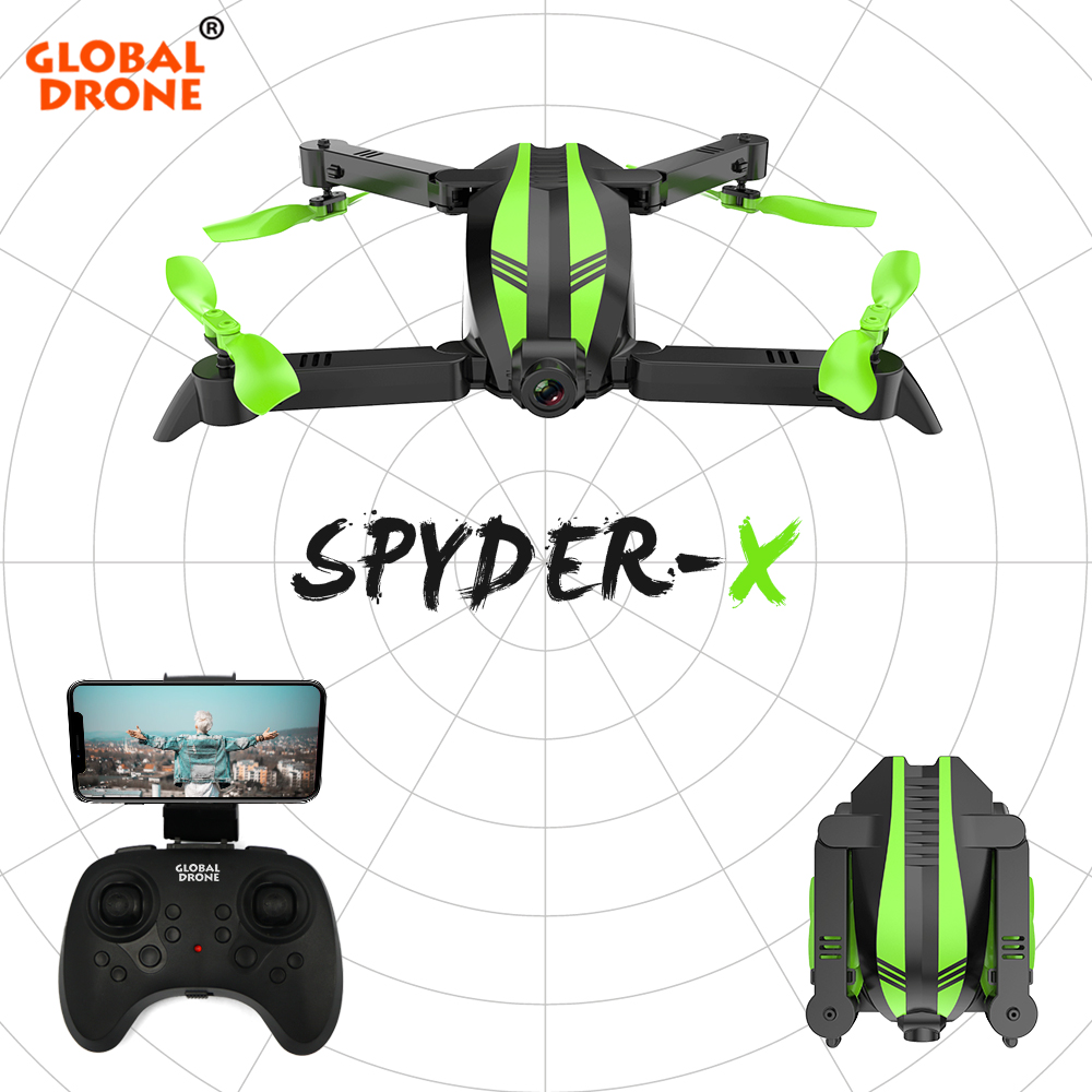 Global Drone SPYDER X Quadrocopter Drones with Camera HD Wide Angle RC Helicopter WIFI FPV Foldable