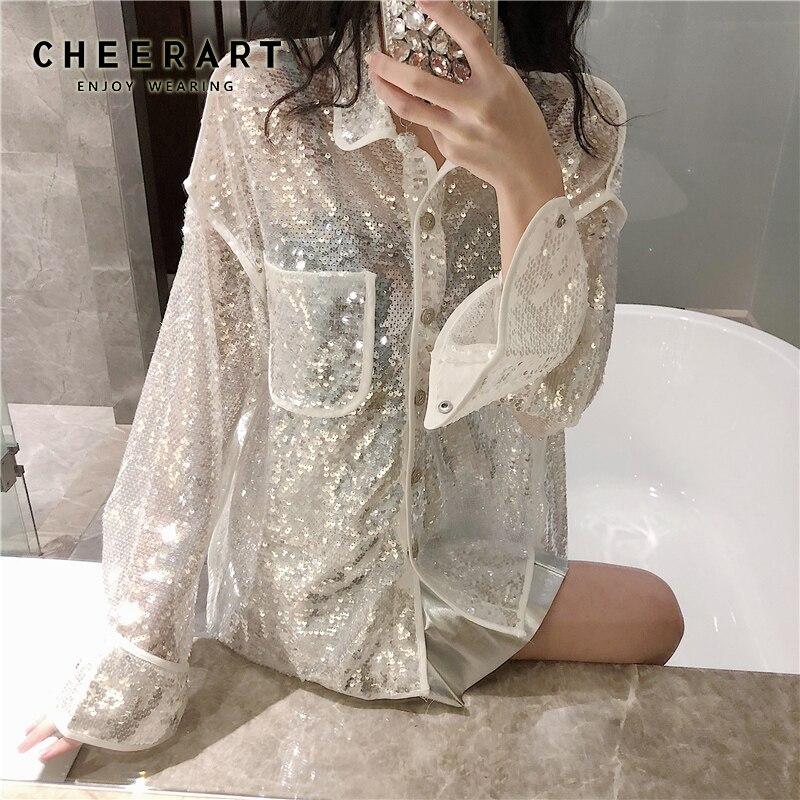 Cheerart Bling Sequin Blouse à manches longues chemise femmes lâche paillettes Blouse blanc noir voir à travers Top Clubwear vêtements