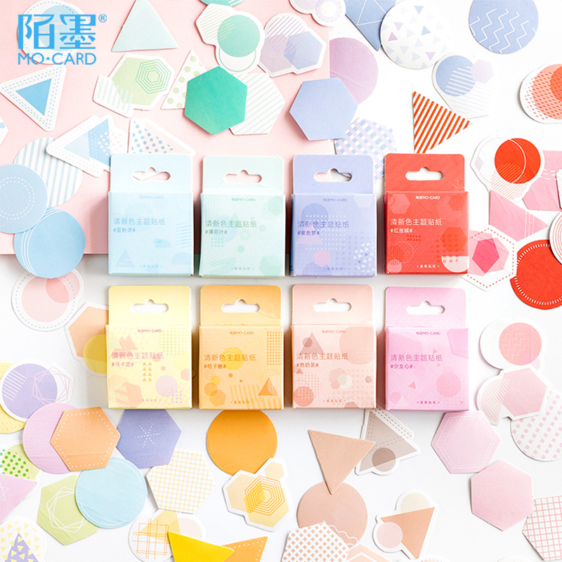 46 Pcs/Box Colored Dot Stripes Triangular Polygon Decoration Paper Sticker Decoration DIY Album Diary Scrapbooking Label Sticker
