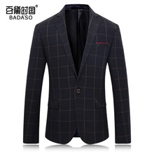 Autumn and winter fashion men's suit blue black blue tricolor high-end plaid jacket 1411  M-3XL