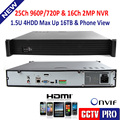 1.5U Casing CCTV NVR,Support 25Ch 960P Or 16Ch 1080P Or 9Ch 3MP Or 4Ch 5MP IP Cameras ,Support Standard Onvif,P2P,4HDD