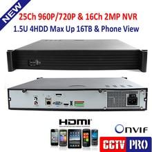 1.5U корпус видеонаблюдения nvr, Поддержка 25Ch 960 P или 16Ch 1080 P или 9Ch мегапиксельный или 4Ch 5MP ip-камер, Поддержка стандартный onvif, P2p, 4HDD
