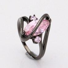 Грушевидные кубического циркония циркон обручальное сша роскошные розовый кольцо изделия ювелирные