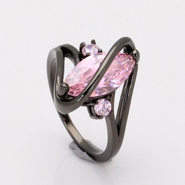 Pink Cubic Zirkon Wedding Engagement Ring