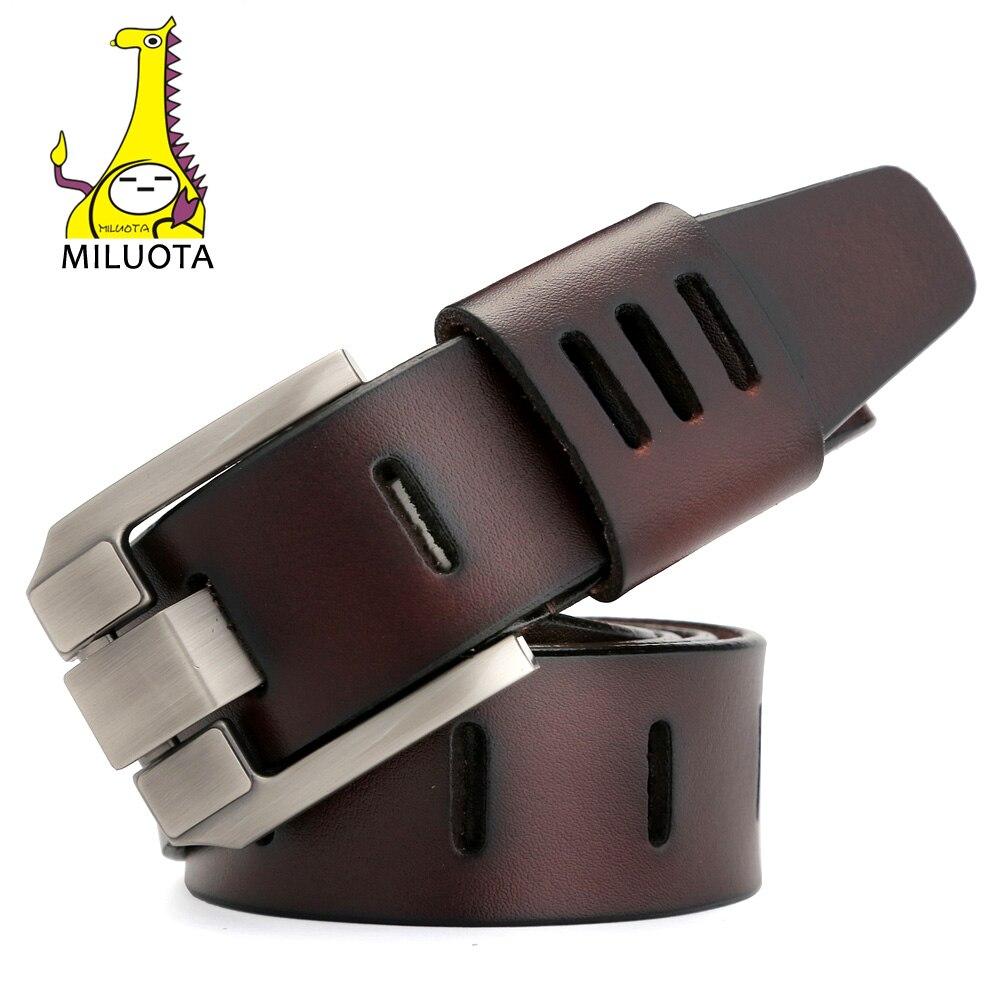 [MILUOTA] Designer Gürtel Männer Hohe Qualität Aus Echtem Leder Gürtel für Männer Luxus Ceinture Homme Military Stil 130 cm MU012