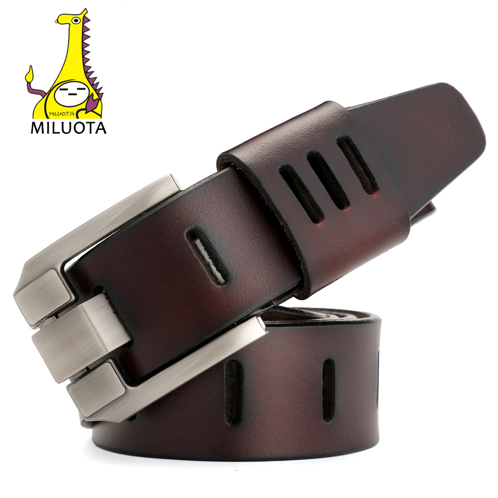 [MILUOTA] cinturones hombres de alta calidad correa de cuero genuino para los hombres de lujo Ceinture Homme estilo militar 130 cm MU012