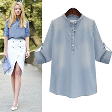 New Spring Autumn Women Shirts Vestido Casual Plus Size Loose Stand Collar Solid Button Jeans Shirt For Women Large Denim Blouse