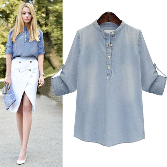 Новый Демисезонный Для женщин Рубашки для мальчиков Vestido Повседневное плюс Размеры Свободные стенд воротник Solid кнопку Джинсы для женщин рубашка для Для женщин большой Джинсовая блузка