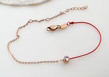 BFQ Новая мода лаки красной веревочки один кубический цирконий браслеты для женщин девушка из розового золота цвета браслет из нержавеющей стали chaine cheville