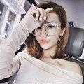 OLTLO Moda Diamante Óculos de Armação Simples de Grandes Dimensões Óculos De Lente Clara Óculos Grande Moldura Rosa Para Mulheres De Metal Eyewear