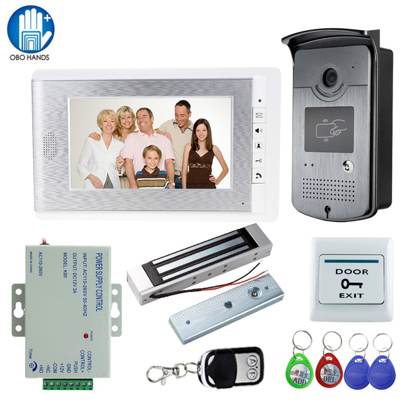 Wired 7 Video Door Phone Doorbell Intercom Entry System + Outdoor RFID Camera + Remote Control+Magnetic Lock+Door EXIT Release