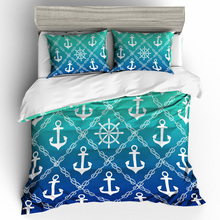 Blue Nautical Anchor Creative Bedding Set No Fading Soft Duvet Cover  Pillowcases Twin Full Queen King