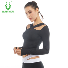 Autumn Winter Women Sexy crop top quick dry long sleeved clothing female fitness Yoga t shirt blouse ropa deportiva mujer gym