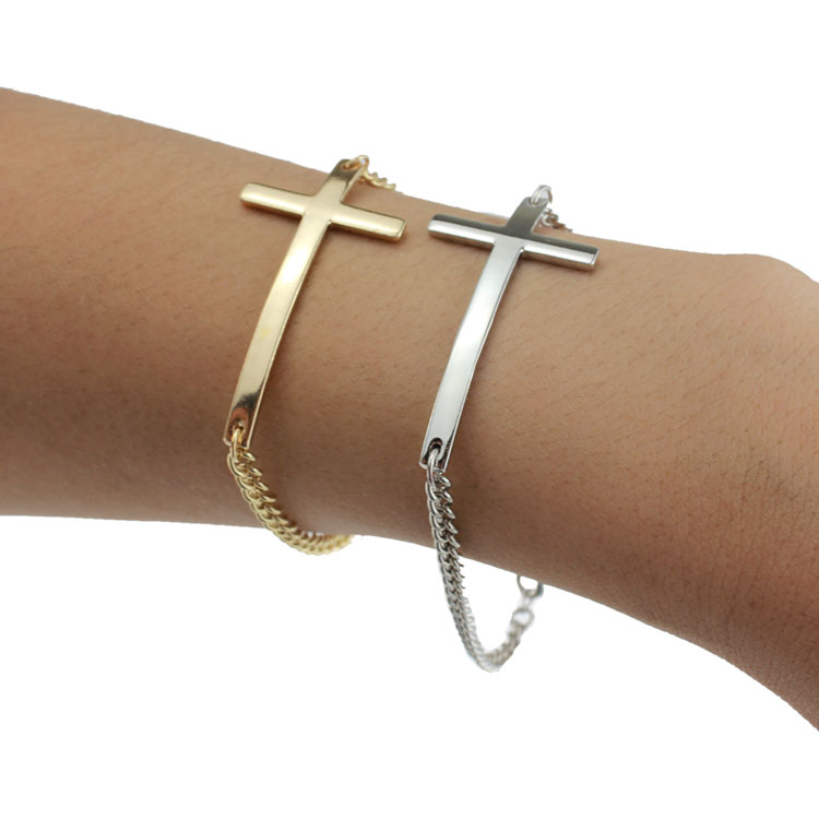 Иисус христианский Для женщин Для мужчин изогнутой поверхности крест Браслеты цвета: золотистый, серебристый религиозных Мода свет металл...
