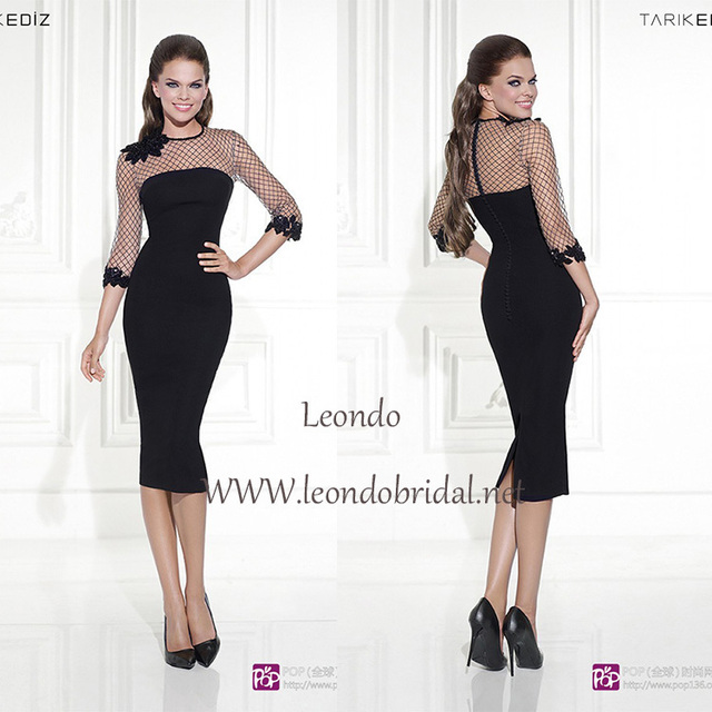 tarik ediz short dresses 2015 black lace Mid-Calf formal modest dresses  with sleeves plus size tight dresses 7352cd2d0941