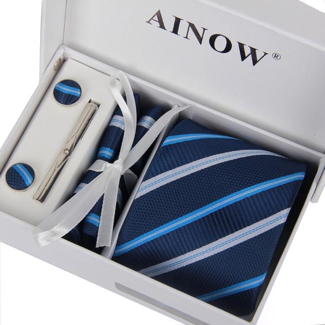 2017 hombres de lujo de seis conjuntos corbata ocasión formal del banquete de boda de los hombres de negocios corbata a rayas niza patrón de seda cuadrados pañuelo