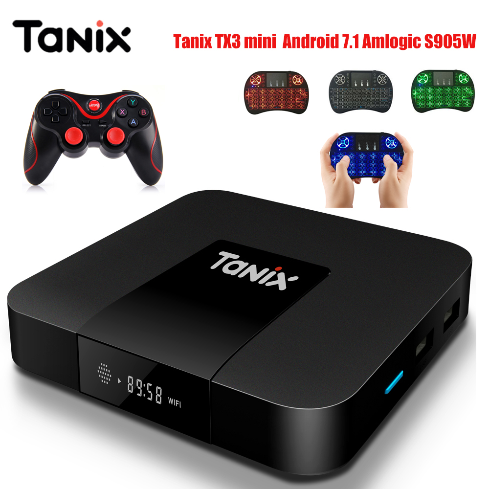 Tanix TX3 Mini Smart TV Box Amlogic S905W Set top Box TV 2,4 GHz WiFi Android 7.1 2G DDR3 16G 4 Karat HD H.265 Media Player pk x96