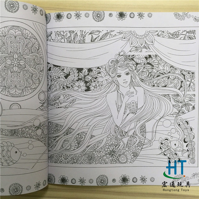 Fairy Tales And Magical Dreams Book Coloring Painting Colouring Mandalas Secret Garden Color Drawing Alice In Wonderland 24pages