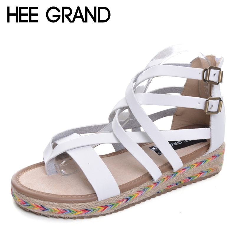 HEE GRAND Platform Gladiator Sandals Summer Flip Flops Creepers Casual Shoes Woman Fashion Zip Flats Women Shoes XWZ2830 timetang 2017 leather gladiator sandals comfort creepers platform casual shoes woman summer style mother women shoes xwd5583