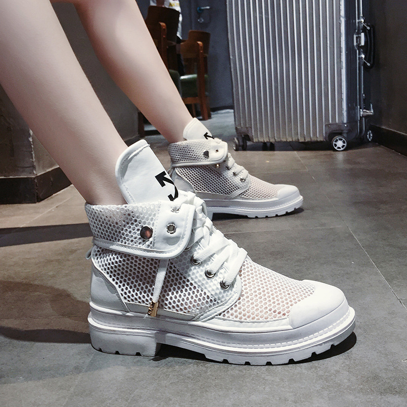 Women's boot 2019 new elevated motorcycle Martin boot women's summer aerated mesh hollowed-out boot shoes womens shoes fashion