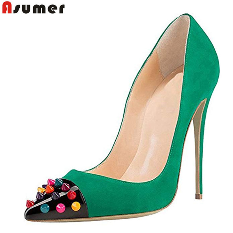ASUMER Large size 35 45 New 2019 Hot sale basic women pumps rivets pointed toe 12cm