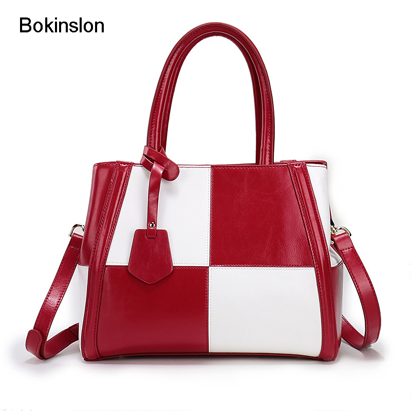 Bokinslon Woman Shoulder Bags Stitching Color Fashion Ladies Crossbody Bag Simple Split Leather Women Small Square Bags dark green stitching design crossbody bags