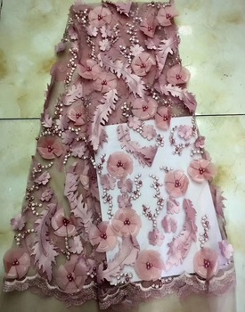 2018 High quality white african french tulle lace fabric with beads 3d flower pattern design french net lace TS7062