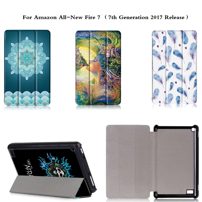 Colorful Print PU Leather With Hard Back Cute Cover Case For All-New Amazon Fire 7 Tablet 7th Generation 2017 Release Cover b1a4 7th mini album rollin random cover release date 2017 09 28