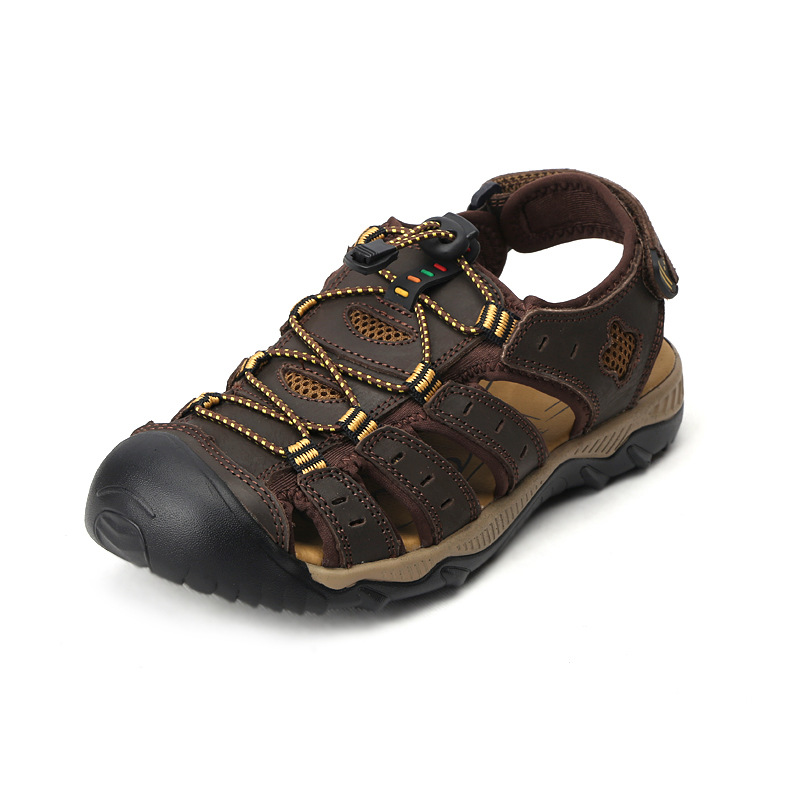 2017 Summer Beach Sandals Men Genuine Leather Breathable Men's Designer Slippers Fashion Flip Flops Causal Shoes Plus Size 39-48 2016 genuine leather sandal shoes brand designer beach flip flops slippers male flat sandals for men 38 44 size